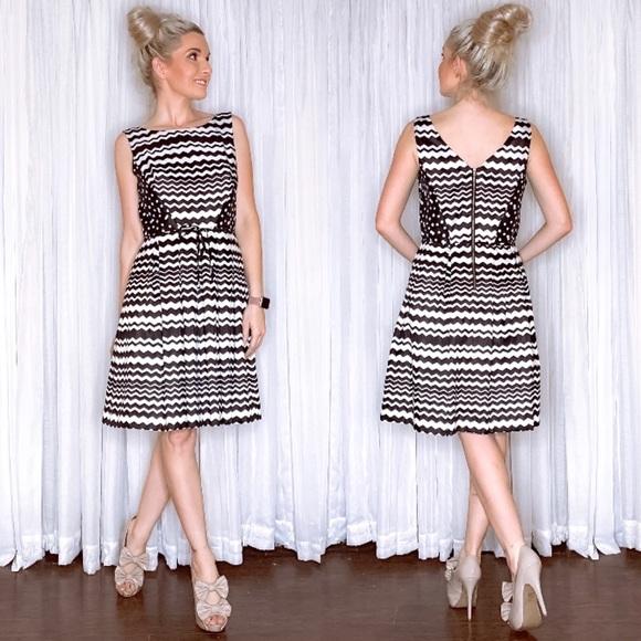 Julian Taylor Dresses & Skirts - Black White Stripe Fit Flair Sundress